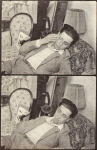 Desnos endormi Photo Man Ray, reproduit dans André Breton, Nadja, Paris, Éditions de la Nouvelle Revue française, 1928.